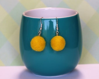 Sunshine Yellow Needle Felted Bead Drop Earrings