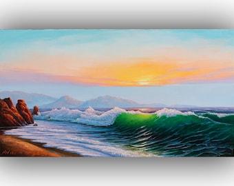 """Original marine landscape oil painting,sea  landscape . THE EVENING BREEZE by Alexey Vylusk. Size 35.43"""" × 19.68""""(50cm x 90cm)"""
