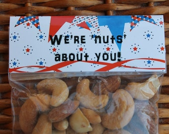 We're nuts about you! Personalized Treat Bag Toppers and Party Favors - Birthday Party Favors - 12 each