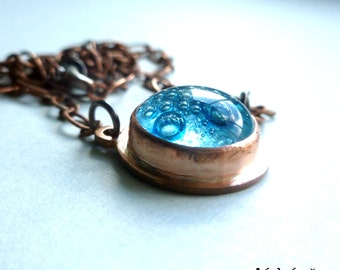 Blue copper necklace, copper pendant,