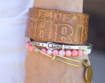 "Leather Bracelet ""Steadfast in Christ"""
