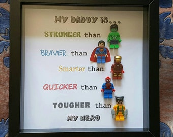 Personalised super-hero daddy son uncle brother lego frame. 5 figs Customise-Any characters, & text. Made in 1 day.gift birthday fathers day