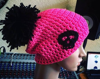 Beanie Hat, large pom-pom, pink & black, adult and child size