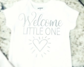 Onesie Welcome Little One metallic silver baby gift