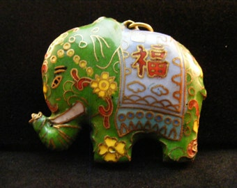Green Chinese cloisonne elephant