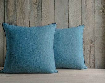 Teal Cashmere Throw Pillows with Silk Tape