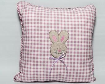 Dusty pink check bunny cushion