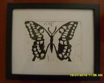 Butterfly Lino Print - Home Decor - Gift - Wall Art