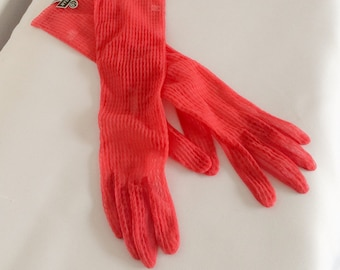 1950s / 1960s Sheer Dark Pink Long Gloves NOS Vintage