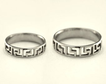 Greek silver wedding bands, Matching promise rings, Greek pattern rings, His and her ring set, Unique wedding rings, His her promise rings