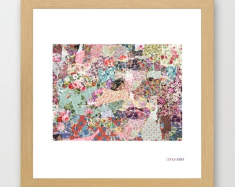 COLORADO MAP, Colorado painting, colorado art, colorful map, flowers composition, roses, Giclee Fine Art, Poster Print