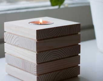 Cube shaped candle holder - made of pine wood