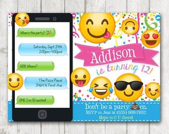 Printable Emoji Birthday Party Invitation, Emoji invitations, iphone Smiley Face Birthday Invitation, Girl Emojis Bday Invite, Emoticon Bday