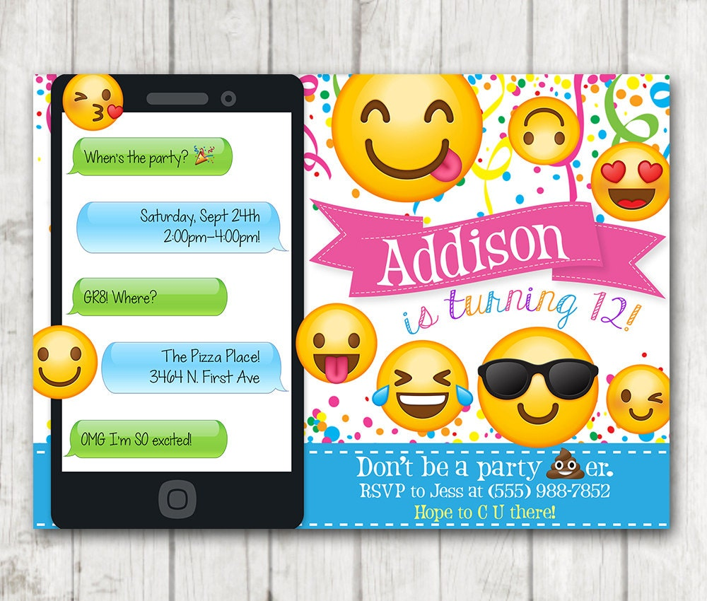 It's just a picture of Shocking Emoji Invitations Printable