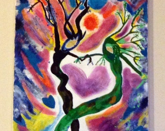 Soulmates, Twin Soul Flames, Love, Abstract, Reflection of something I once saw, Mixed Mediums, Colorful, Hearts, Trees