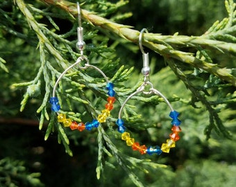 Hoop earrings with 3mm bicone Swarovski crystals in yellow, orange and blue, hoops,