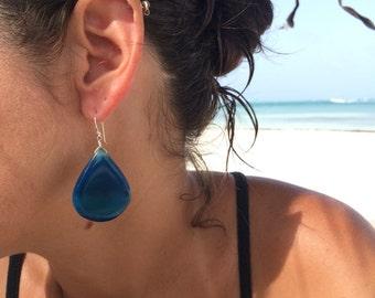 Large Deep Blue Agate Drop Sterling Silver Earrings