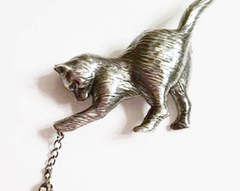 Sterling Silver Kitten and Mouse Brooch