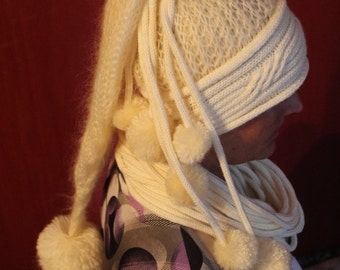 Hand Knitted Beanie, Hand Made Hat, Champagne Dwarfs Hat With  Lots of Pom Poms