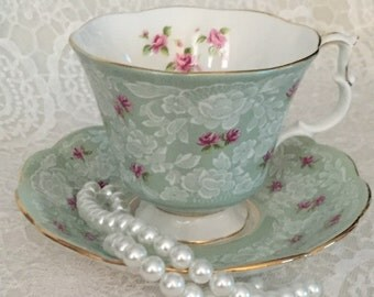 Royal Albert Bone China England, Rare Vintage  ~ True Love~ Green