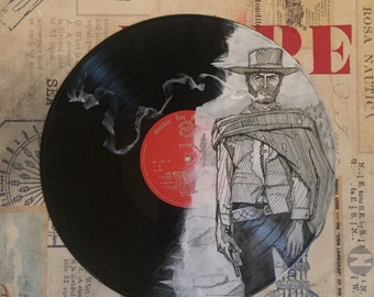 Vintage Vinyl Painting // The Man with no Name