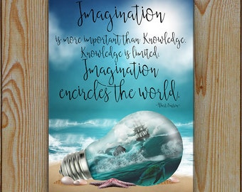 Imagination Quote Sign | Fantasy Art Sign | This is a very large sign almost A3 (283x408)| Einstein Quote Imagination