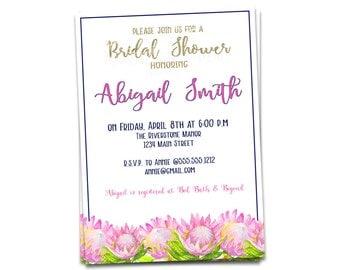Bridal Shower Invitation, Printable Bridal Shower Invitation, Gold and Pink Wedding Shower Invitation, Flowered Bridal Shower Invitation