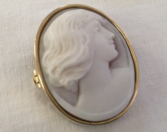 Lovely Cameo Brooch, Grey-tone and White, 9k Gold Frame