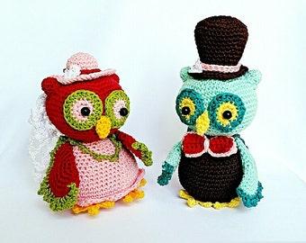 "PDF: Owl Couple ""Bride and Groom"" - Amigurumi Crochet Pattern"