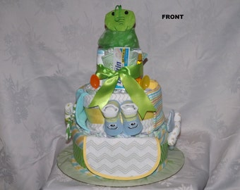 Diaper cake, Baby shower gift, Neutral theme, 3 tier