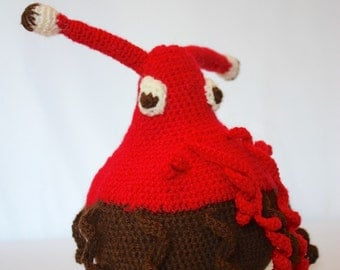 Red and Brown Crochet Alien