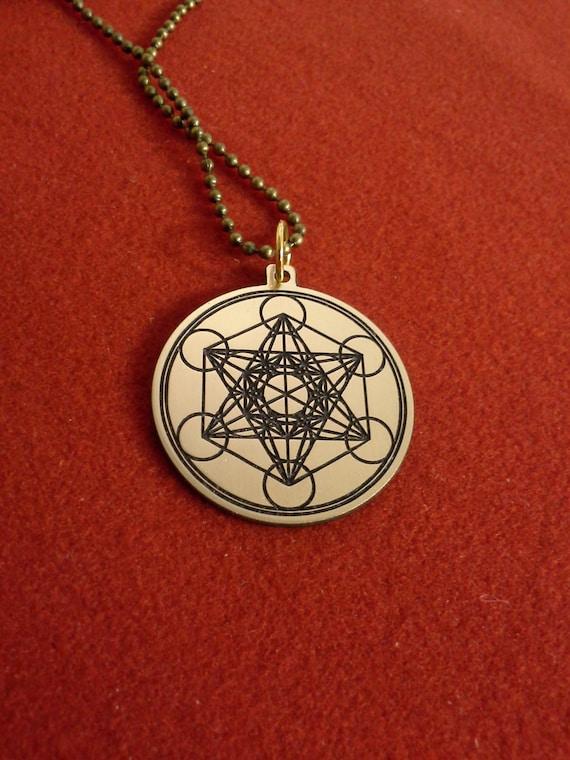 metatron s cube pendant etching brass archangel seal
