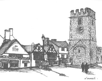 Newton Abbot clock tower ink hand drawing, Devon