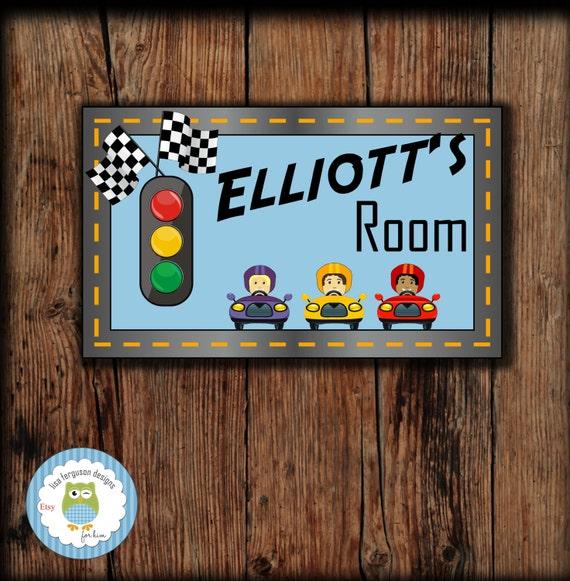 Personalized Race Track Bedroom Door Sign