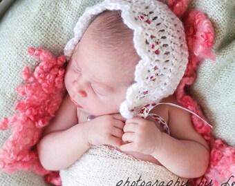 Crochet Baby Bonnet - White Bonnet - Newborn Girl Bonnet - Vintage Ribbon Baby Bonnets - Photo Prop Bonnet - Baby Photo Prop