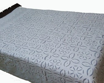 Handmade applique carving transparent bedcover,Embroidered Bedcover,summer bed-cover,handicrafts ,Scalloped Edge Tablecloth --