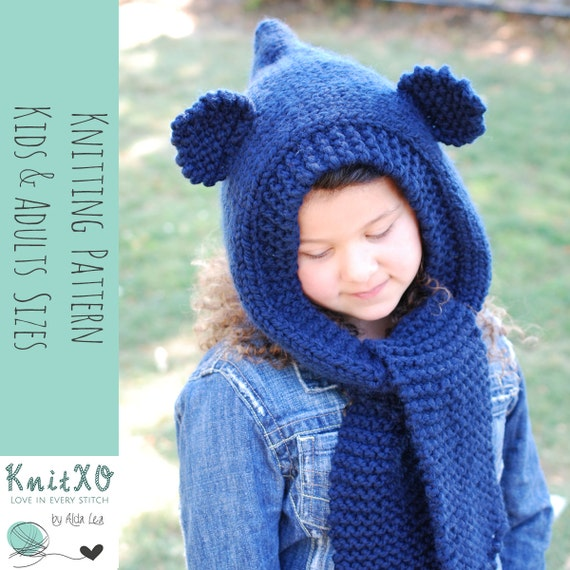 Knitting Pattern Bear Hooded Cowl Multiple Sizes Child and ...