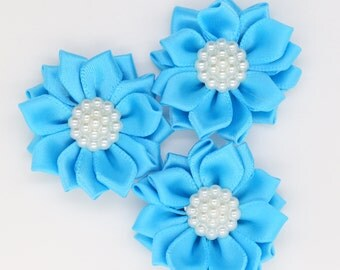 3 Blue Satin Ribbon Flowers with Pearl Center, Mini Ribbon Flowers, Layer Flowers.