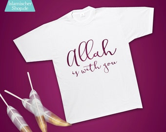 T-Shirt Allah is with you gold, berry