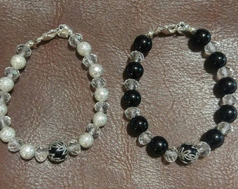 Silver or Black Beaded Bracelet