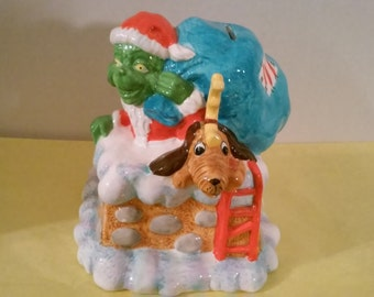 Vintage The Grinch Who Stole Christmas Ceramic Bank