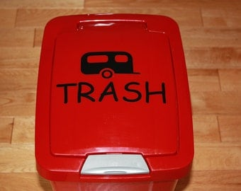 Trailer Trash Vinyl Sticker, Trailer Trash Decal, Garbage Decal, Camping Decal, Camper Trash Can Decal, Camping Life