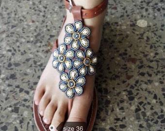 chema gladiator sandals/massai sandals /tribal sandals / beaded sandals / leather sandals