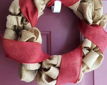 Gold//Burgundy//Burlap Wreath//Gifts for the home//