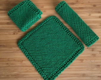 3 Knit Washcloths, Kitchen Dishrags, Cotton Cloths, Hand Knit
