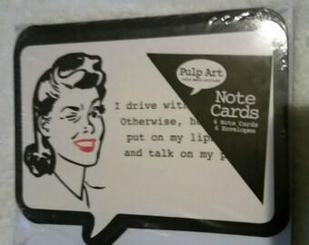 retro-vintage post note 6pk