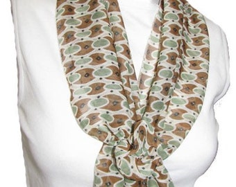 Mint Green, Brown and Cream Scarf with Velcro Closure