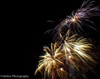 Gold and blue fireworks