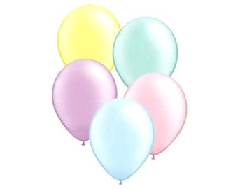 MINI PASTEL BALLOONS - Set of 5 Mini Pastel Balloons in Yellow, Pink, Purple, Green and Blue  (5 inches / 12cm)