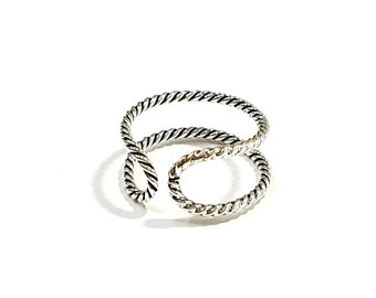 Circle rope silver ring 925, Sterling silver ring, Dainty ring